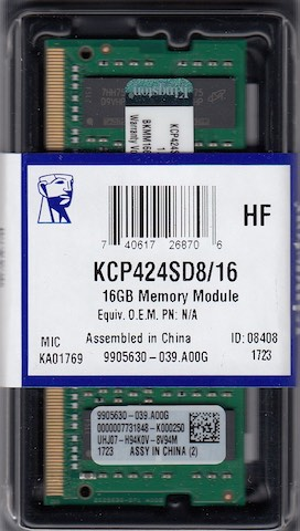 KINGSTON 16GB DDR4 SO-DIMM PC4-19200, 2400Mhz