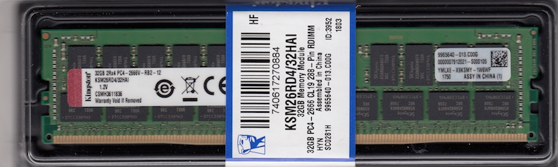 KINGSTON 32GB DDR4 DIMM PC4-21300, 2666Mhz, ECC reg.