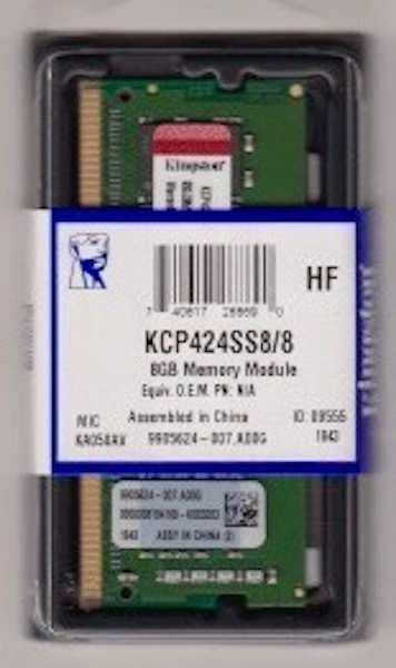 KINGSTON 8GB DDR4 SO-DIMM PC4-19200, 2400Mhz