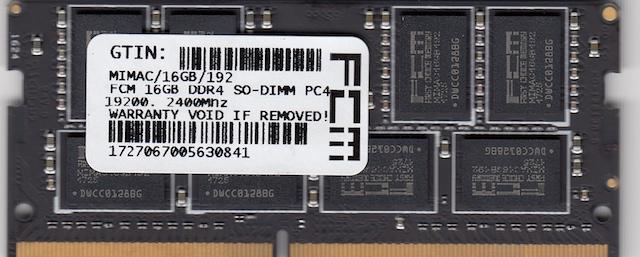 FCM 16GB DDR4 SO-DIMM PC4-19200, 2400Mhz