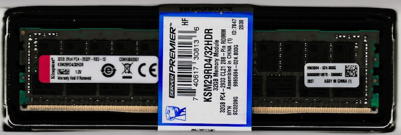 KINGSTON 32GB DDR4 DIMM PC4-23400, 2933Mhz, ECC reg.